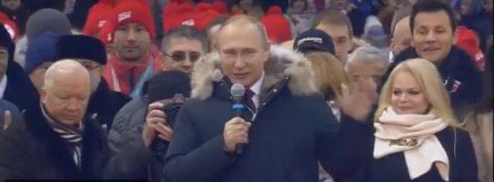 Владимир Путин спел гимн России на митинге в Лужниках