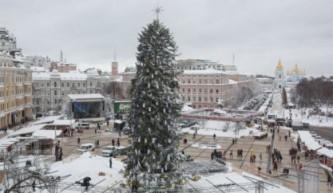 В Киеве установили самую лысую новогоднюю елку