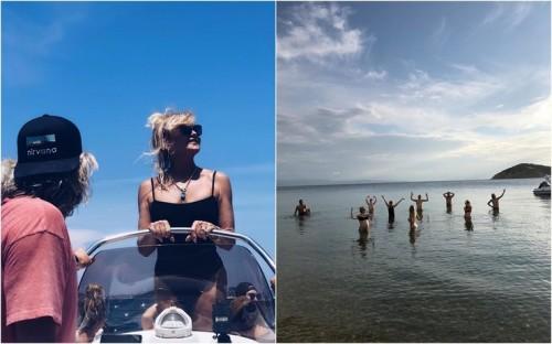 Беременная Кейт Хадсон с Дэнни Фудзикавой, Голди Хоун, Куртом Расселом и родителями в Греции