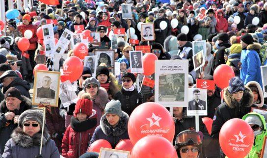 День Великой Победы в Арктике начался с шествия Бессмертного полка