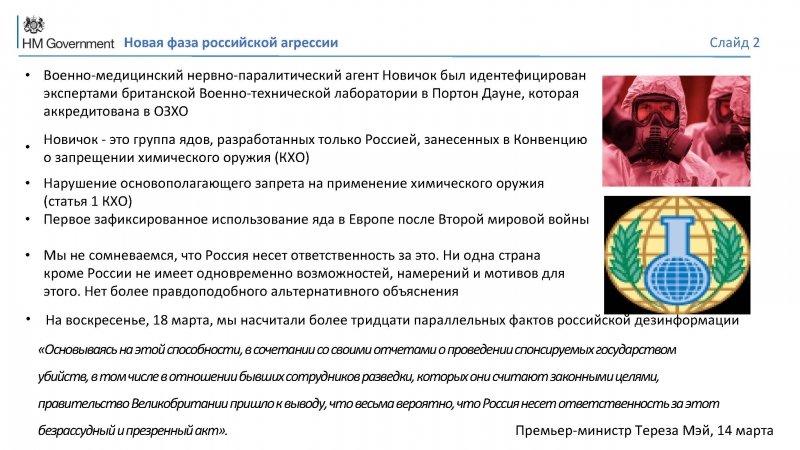 Перевод британских «доказательств» вины России на русский язык